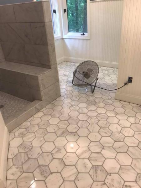 It's all about shape with this tile flooring; with stunning octagon style tiles, we've created a beautiful ambiance in this bathroom.